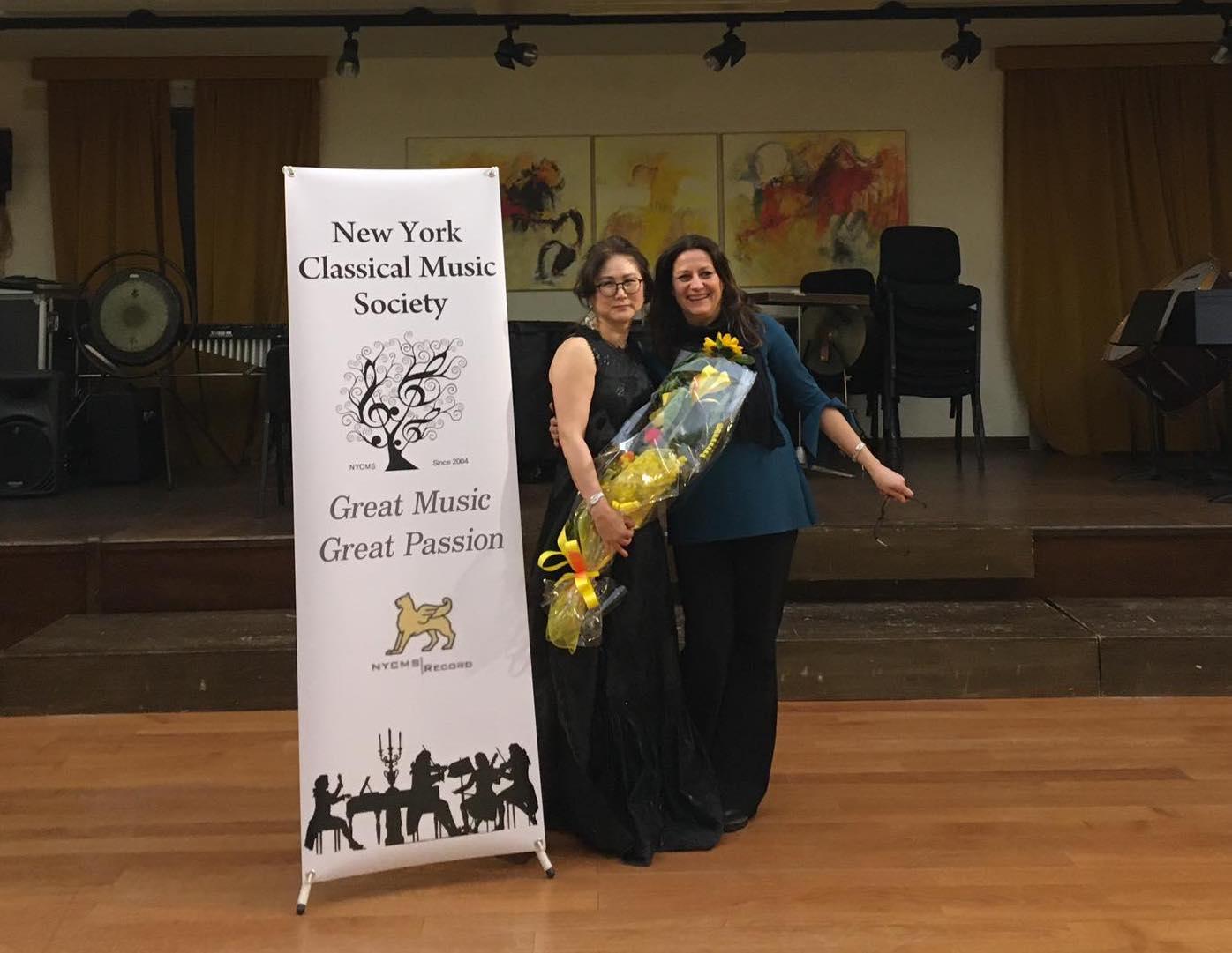 ©Carla Magnan with the President of NYMCS Lynn Czae. Conservatorio N. Paganini, Genova, 2020